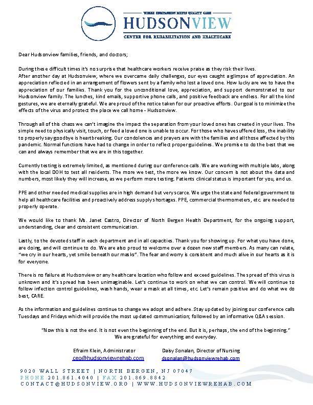 Hudsonview letter 4.21.2020