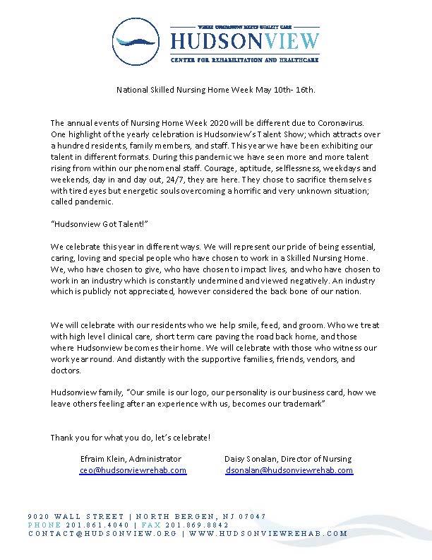 Hudsonview Skilled Nursing Home Week_051120